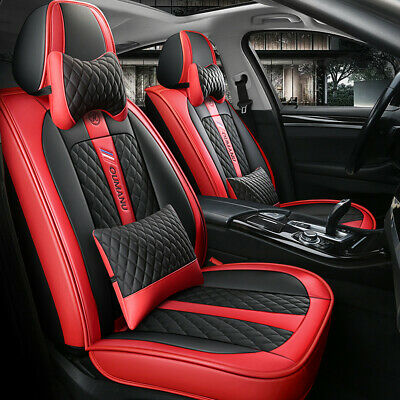 Full Surround Seats Covers Deluxe Edition PU Leather Car Seat Cushion W/ Pillows