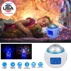 Sky Star Baby Kids Night Light Projector Lamps Bedroom Digital Alarm Music Clock