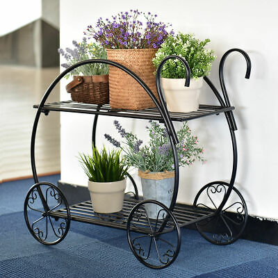 Metal Flower Cart Pot Rack Plant Display Stand Holder Decor Heavy Duty (Metal Stand)