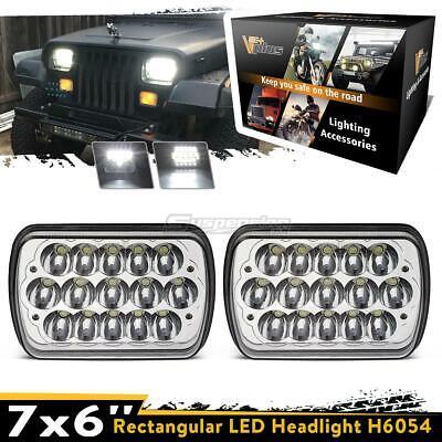 "2PCS 7x6""LED Cree Headlights Sealed Beam Hi/Lo Dual Beam White Lamps"