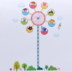 Large DIY PVC Art Wall Clock Adhensive Ferris Wheel Kid Bedroom Decoration Decal