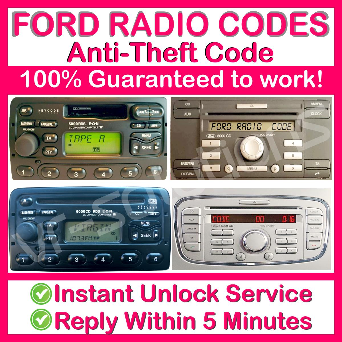 FORD ESCORT PUMA FOCUS COUGAR MONDEO FIESTA 6000 CD PLAYER RADIO CODE WARRANTY