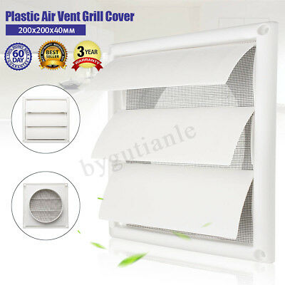 External Shutter Wall Grille Grill Duct Air Vent 6'' Exhaust Fan 200*200*40mm - External Exhaust Duct