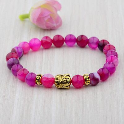Charm Natural Gem Pink Agate Beads Gold Buddha Head Beaded Women Men Bracelets