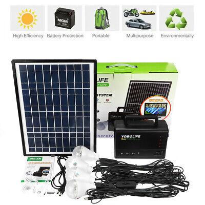 10W 110-220V Solar Power Panel Generator Storage LED Light USB Charger Kit US