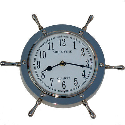 Silver Ships Wheel Helm Shipwheel Wall Clock Nautical Beach Ship Nickel Decor