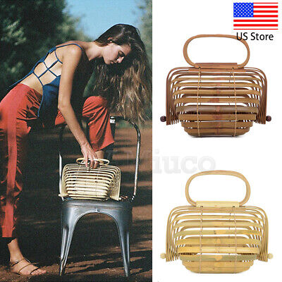 Womens Handmade Bamboo Bags Basket Nest Bags Hollow Large Tote Lantern Beach Bag ()