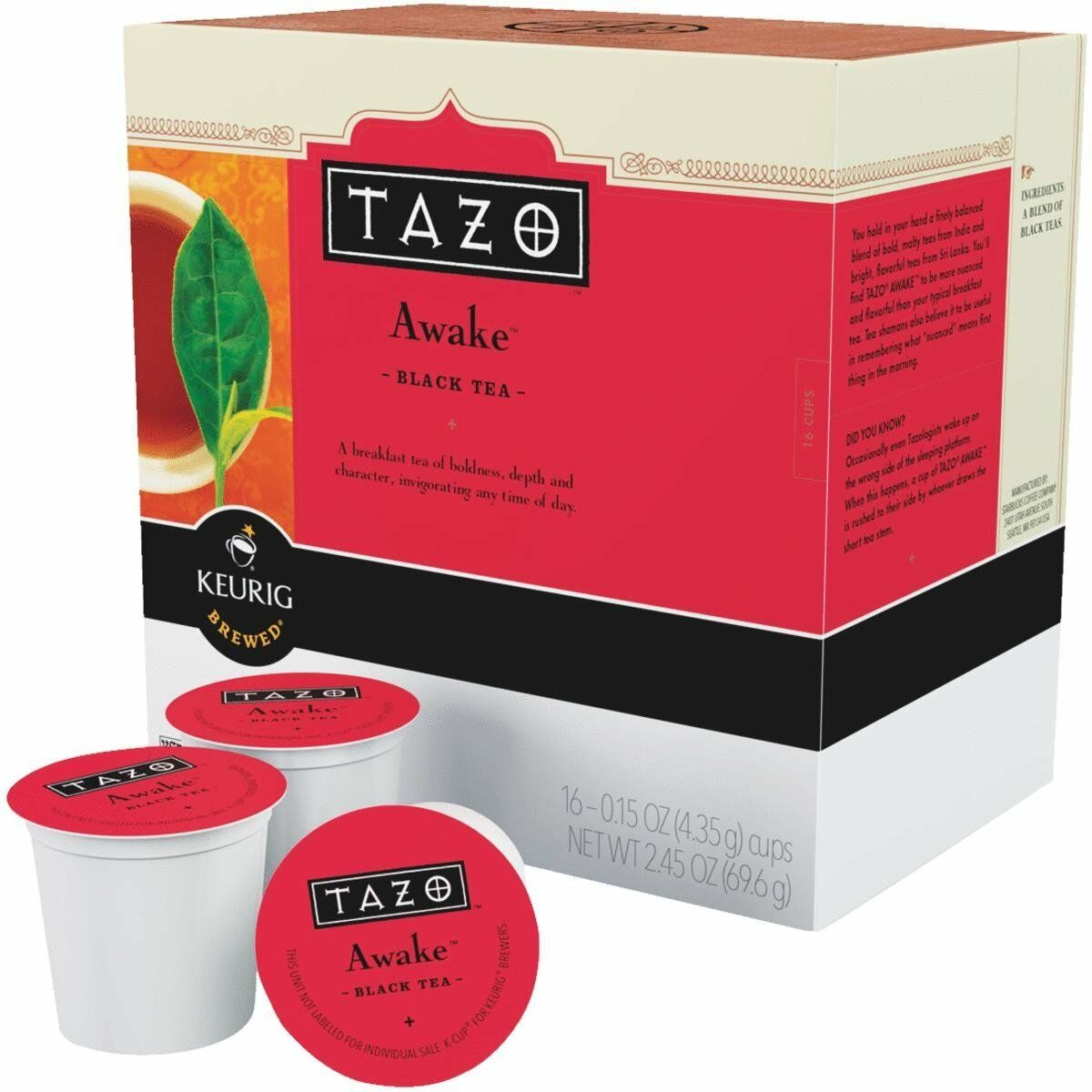 Tazo Awake Black Tea 16 to 64 Count Keurig K cups Choose Any
