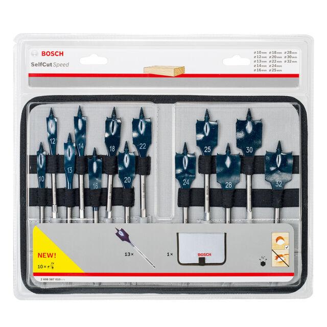 BOSCH 13 Pce 10mm - 32mm Wood Self Cut Flat/Spade Speed Drill Bit Set,2608587010