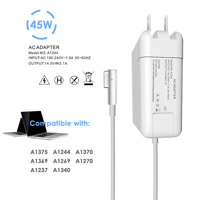 """45W AC Adapter Charger for 11"""" 13"""" Apple Macbook Air 2009~2011 A1244 A1374 L-Tip"""