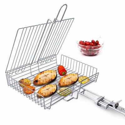 WolfWise Portable BBQ Grilling Basket Stainless Steel Outdoor Cooking Tool Grill