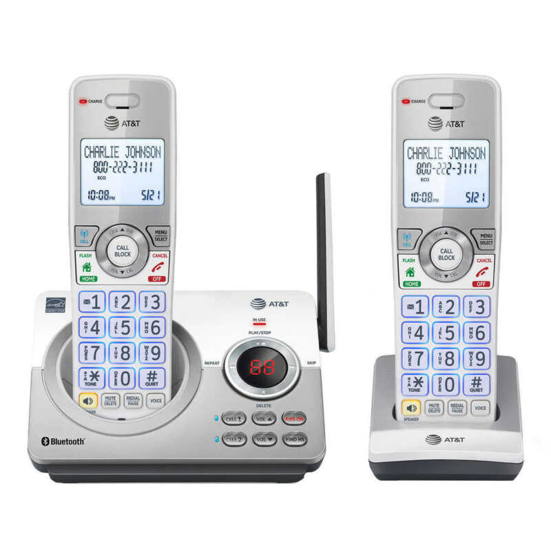 2 Handset Answering System with Connect to Cell Cordless Expandable phone