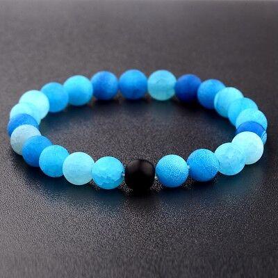 Charm 8MM Blue Natural Stone Beads Yoga Reiki Men's Bracelets Fashion Jewelry