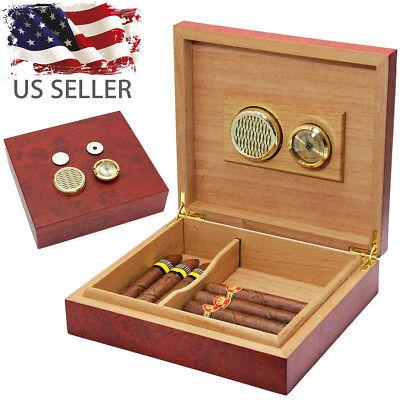 20 Cigars Wood Cedar Lined Cigar Storage Case Box Humidor Humidifier Hygrometer