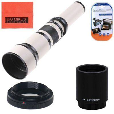 Vivitar 650mm-2600mm Telephoto Lens White for Nikon D3400 D5300 D5600 D7200