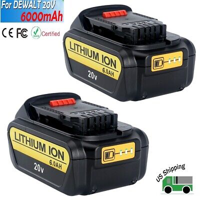 2 Pack New DCB206-2 20V MAX 6.0Ah Lithium Replacement Battery for Dewalt XR Tool