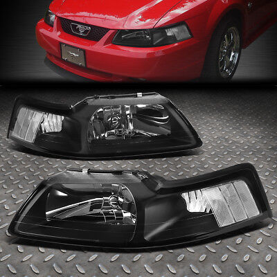 FOR 1999 2004 FORD MUSTANG PAIR BLACK HOUSING CLEAR CORNER HEADLIGHTLAMP SET
