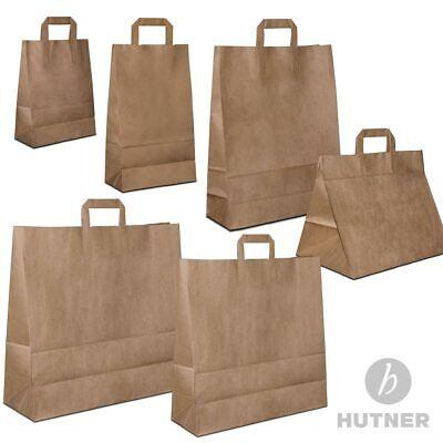 HUTNER Papiertüten braun Flachhenkel Papiertragetaschen Papiertaschen klein/groß