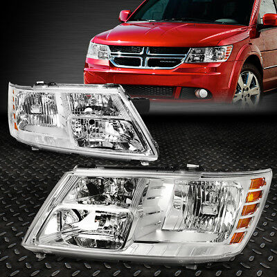 FOR 2009 2017 DODGE JOURNEY PAIR CHROME HOUSING AMBER CORNER HEADLIGHTLAMP SET