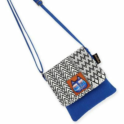 Flap Tote Handbag - Laurel Burch Indigo Cats Blue Flap Over Woven Purse Crossbody Tote Handbag