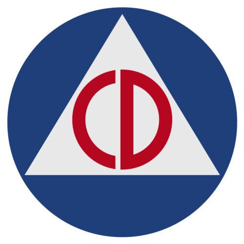 """Civil Defense Vintage Design Medium 3"""" Round Reflective Decal Sticker"""