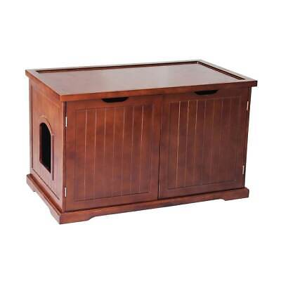 Merry Products Decorative Bench with Enclosed Cat Litter Washroom Box, Walnut Merry Products Cat Washroom