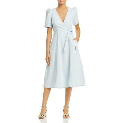 Kate Spade Womens Denim Puff Sleeve Midi Wrap Dress BHFO 6309