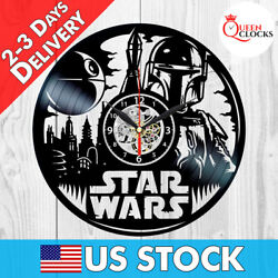 Boba Fett Wall Art Vinyl Record Clock Star Wars Home Decor Disney Kids Best Gift