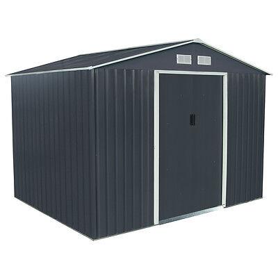 Charles Bentley Dark Grey 6ft x 9ft Metal Steel Garden Shed Outdoor Storage