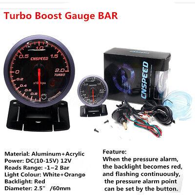2.5'' 60mm Car Auto LED Turbo Boost Gauge Vacuum Press Pressure Bar Meter Sensor