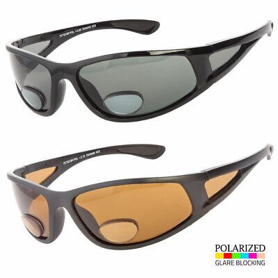 Bifocal Reader Polarized Sunglasses Sports Wrap Around Fishing Smoke Brown (Sport Reader Sunglasses)