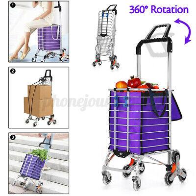8 Wheel Folding Stair Climbing Shopping Cart Jumbo Basket Grocery Trolley W Bag