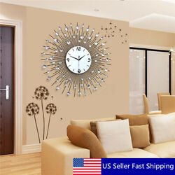 60CM Scenic Iron Art Metal Living Room Round Diamond Wall Clock Home House