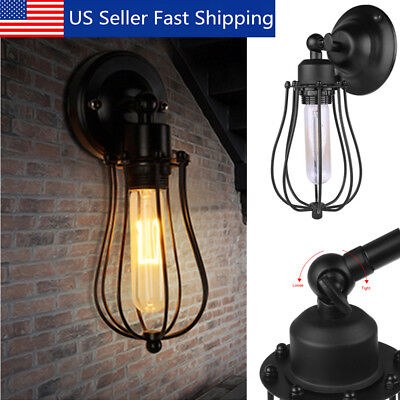 Rustic Vintage Industrial Style Wall Mount Light Sconce Lamp Wired Cage Fixture