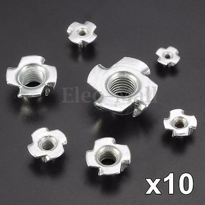 10X M3/M4/M5/M6/M8/M12 Four Prong Furniture T Nut Inserts For Wood Zinc Plated