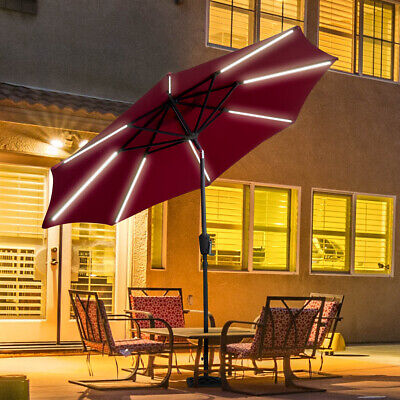 9 FT Patio Solar Umbrella LED Light Tilt Deck Waterproof Garden Market Beach -