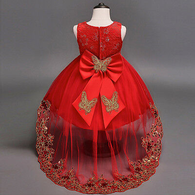 Kids Baby Flower Girl Bow Princess Dress for Girls Party Wedding Bridesmaid Gown - Red Dress For Girl