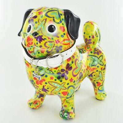 Pomme Pidou Daisy Pug Money Box Piggy Bank Unique Art Quirky Dog Lovers Gift -