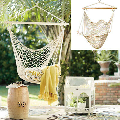 Hammock Chair Swing Hanging Rope Seat Net Chair Tree Outdoor Porch Patio Indoor