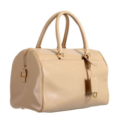 Saint Laurent Women's Cream Beige Calfskin Leather Classic Duffle 6 Bag