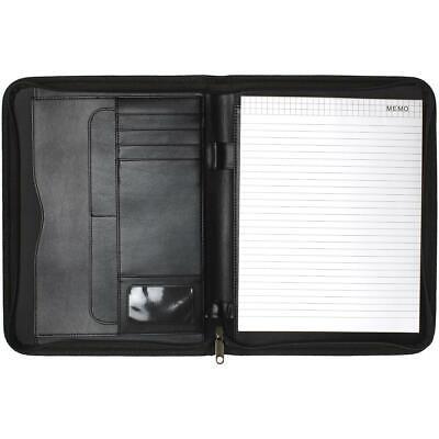 A4 Zipped Padfolio Portfolio Conference Folder Zip Folio Pad Organizer CV Resume ()