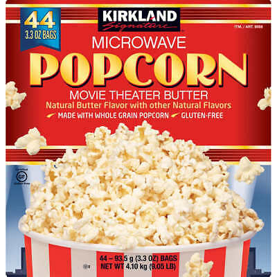 Kirkland Signature Microwave Popcorn  Movie Theater Butter  44 Bags  3 3 Oz Each