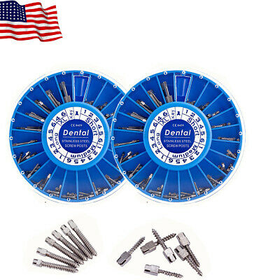 2box Easyinsmile Dental Stainless Steel Screw Posts Kits Assorted Drills Silver