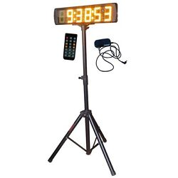 Yellow 5 Large LED Race Timing Clock Countdown/up Timer With Tripod IR Remote