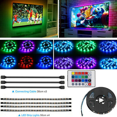 TV LED Backlight 4 x 50CM USB Powered RGB LED Strip Light Remote Color Changing