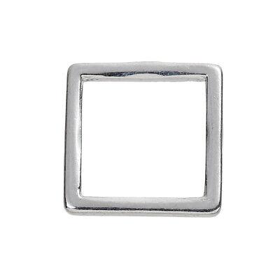 Anhänger Verbinder Quadrat silber versilbert 10 Stück
