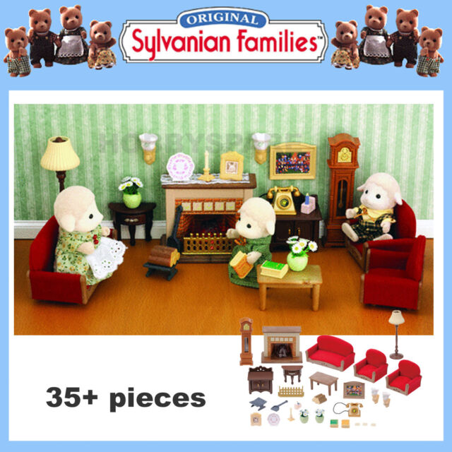 NEW SYLVANIAN FAMILIES LUXURY LIVING ROOM FURNITURE SET 35+ PIECES 4704