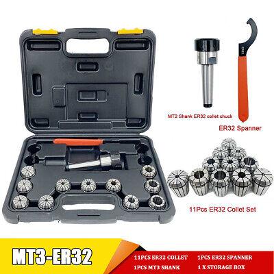 Precision Er32 Collet Set Mt3 Shank Chuck Spanner Wbox For Milling Machine Us