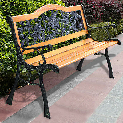 GOPLUS Patio Park Garden Bench Porch Path Chair Furniture Cast Iron Hardwood New