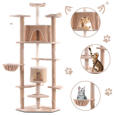 "Beige New 80"" Cat Tree Condo Furniture Scratch Post Pet House"